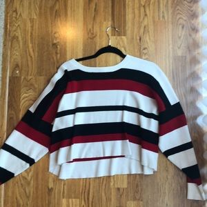 Red, Black and White Striped Sweater